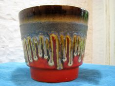 Vintage Fat Lava Planter Large – Presumably Uebelacker Ü Keramik – Red Black Silver Brown Glaze – 60s 1970s Mid Century German Pottery WGP von everglaze auf Etsy