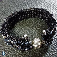 ♥ Sparkling Weaved Black Glass & Iridescent Black Crystal Plated Silver Bracelet #Bracelet