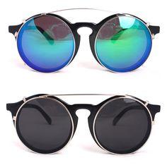 JONTE Fashion Clip On Sunglasses Men Women Unique Glasses Black Round Frame  #JONTE #Round