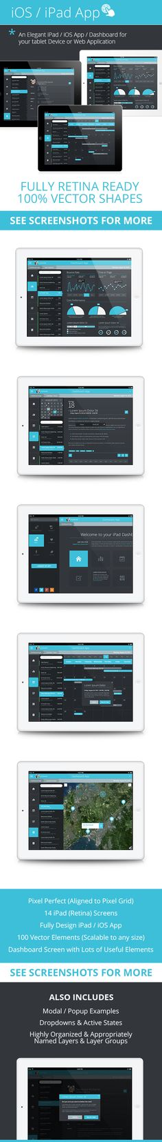 Flat iPad -iOS Tablet App & Dashboard as a fully designed ipad dashboard, task app, calendar app, contacts app, or as a design bootstrap for your next ipad project. iOS 7 – iPad Tablet App & Dashboard is a professional retina iOS iPad Tablet app template …