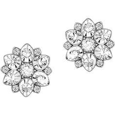 Swarovski Celestial Swarovski Crystal and -Tone Stud Earrings ($75) ❤ liked on Polyvore featuring jewelry, earrings, brinco, silver, flower jewellery, silver earrings, sparkly earrings, swarovski crystal earrings and silver jewellery