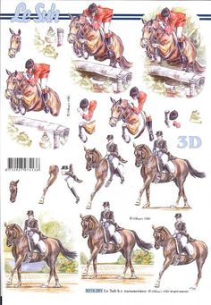 1 sheet of horses decoupage paper This sheet is a step by step sheet which means you are shown which parts to cut out Very easy Perfect for the Decoupage Printables, Image Collage, 3d Sheets, 3d Paper Crafts, Patterned Sheets, 3d Cards, Decoupage Paper, Digital Stamps, Vintage Postcards