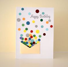 "Confetti & Mini Envelope ""Happy Birthday"" Card. $3.25, via Etsy."