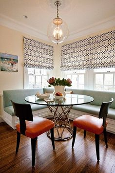 All kinds of banquette tables.  Why this is better than a traditional dinnee table.  Banquette-for-your-kitchen-room1