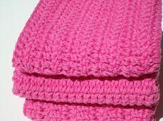 Three Cotton Washcloths, Crochet Washcloths, Bright, Hot Pink Washcloths, Crocheted Washcloths, Wash Cloths - Hoooked by HoookedSoap, $12.00