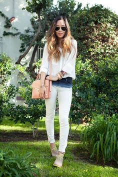 White and white bleached jeans. (Save money and buy cheap blue jeans and bleach them yourself! )