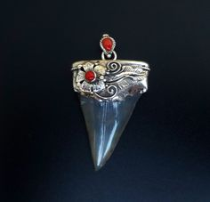 Handmade Sterling Silver and Sharks Tooth Fossil Pendant - Statement Tooth Pendant with Red Coral - Black Fossil Tooth Pendant by fishsilver on Etsy