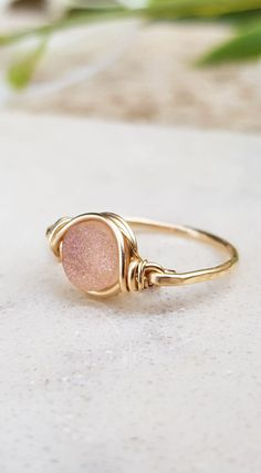 Druzy Ring, Light Pink Druzy, Gold Ring, Statement Ring, Gemstone Ring, Natural Druzy Ring, Pink Ring, Wire Wrapped Ring, 14k Gold Filled