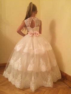 Elfenbein Blumenmädchen Kleid - Brautjungfern Geburtstag Hochzeitsfest Ferien Elfenbein Spitze Tüll Blumenmädchen Kleid