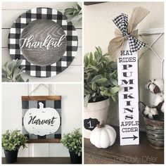 Dollar Tree Farmhouse Decor – DIY Dollar Store Farmhouse Decoration Ideas & Hacks – Home Decor On A Budget Dollar Tree Plates, Dollar Tree Fall, Dollar Tree Decor, Dollar Tree Crafts, Plaid Decor, Fall Home Decor, Holiday Decor, Fall Diy, Fall Crafts