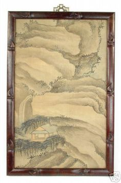Early 1900s Chinese Silk Painting - Ming Style with Teak