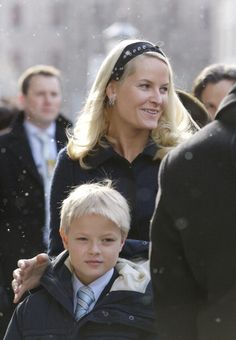 Crown Princess Mette-Marit & Son Marius Borg Hoiby Attend King Harald Of Norway'S 70th Birthday Celebrations In Oslo. Service At Trefoldighets Church, February 21, 2007.