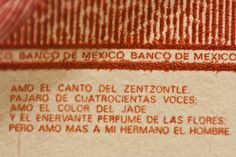 Inscripción en Billete Mexicano