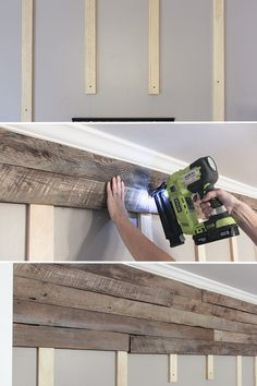 How to build a pallet accent wall in an afternoon. Includes tips on safe pallets… How to build a pallet accent wall in an afternoon. Includes tips on safe pallets to use, and building wire pathways for mounting a TV. Pallet Accent Wall, Pallet Walls, Pallet Furniture, Pallet Wall Bedroom, Furniture Plans, Diy Bedroom, Kids Furniture, Pallet Fireplace, Bathroom Accent Wall
