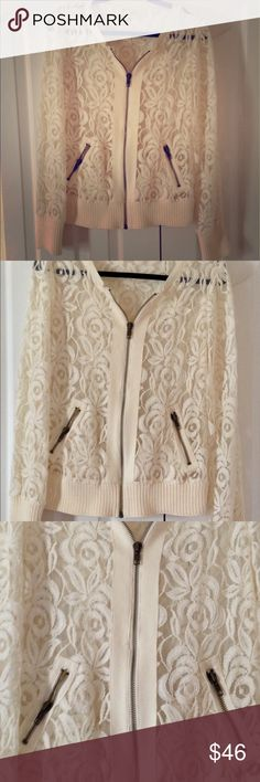 Free People Lace Bomber Edgy, soft with beautiful gold detailing and sweater bottom and cuffs. This jacket playfully introduces lace to a traditional bomber style. Stretchy ribbed collar, cuffs, and waist. Zip closure. 100% Cotton. Dry Clean. Free People Jackets & Coats