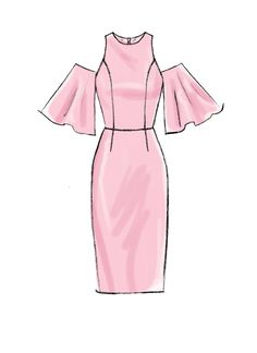 Eyebrow Shaping Discover Misses/Miss Petite Dresses with Mix-and-Match Shoulder Sleeve and Skirt Variations - McCalls Sewing Pattern Dress Design Drawing, Dress Design Sketches, Fashion Design Sketchbook, Fashion Design Drawings, Dress Drawing, Fashion Sketches, Dress Designs, Drawings Of Clothes, Drawings Of Dresses