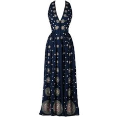 Vintage 1970's Surjit & Adarsh Gill Silk Beaded Halter Dress | From a collection of rare vintage evening dresses at https://www.1stdibs.com/fashion/clothing/evening-dresses/