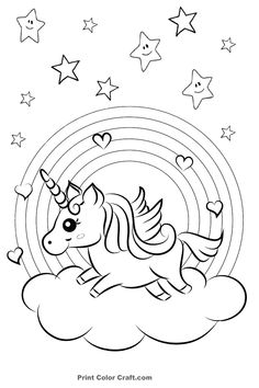 Unicorn With Rainbow Stars And Candy Coloring Page