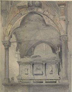 Ruskin, John - Study for Detail of the Sarcophagus and Canopy of the Tomb of Mastino II della Scala at Verona