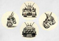 Ilustración bistro sobre cartulina( A4) Vistas del personaje K-02