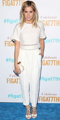 ASHLEY TISDALE total white look with crop top and high-waisted pants