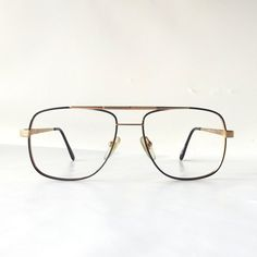 d01b62b9d94 vintage 90 s NOS square eyeglasses gold metal frames black enamel modern  retro glasses aviators nerd geek double bridge oversized big large