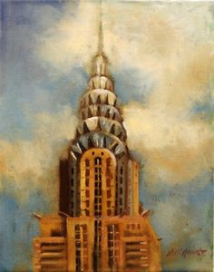 Chrysler Building, New York City, Art Deco Architecture 14 x11 Oil on canvas by Hall Groat II, painting by artist Hall Groat II