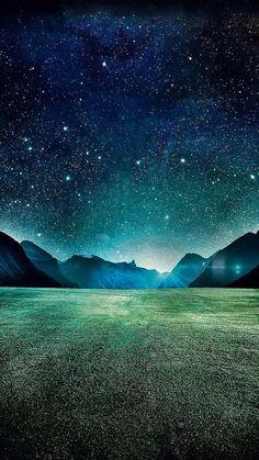 Starry Night Grass Field Mountains iPhone 6 Wallpaper