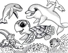 dolpins free colerpages  | Coloring: Baby Honu and Friends