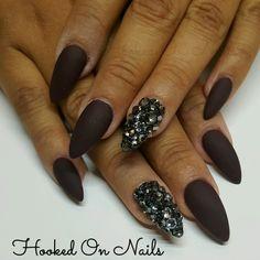 Matte nails, almond shape, bling nails, dark chocolate nails, swarovski crystals