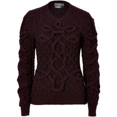SALVATORE FERRAGAMO Plum Wool Structural Knit Pullover ($1,810) ❤ liked on Polyvore