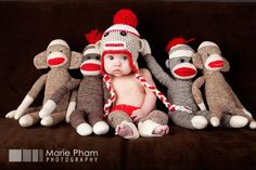 Socky monkey hat, diaper cover and leg warmers