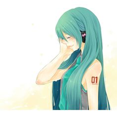 aqua hair hatsune miku headphones long hair necktie nemutagari simple... ❤ liked on Polyvore