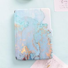 Mimiatrend Blue Marble Grain PU Cover for Amazon Kindle Paperwhite 1 2 3 449 558 Case 6 inch Ebook Tablet Accessories