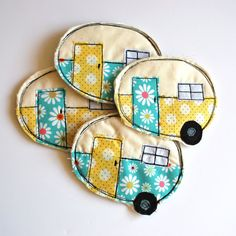 Vintage Camper Coasters set of four Machine Appliqued