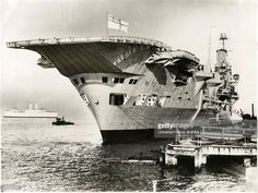 British Aircraft Carrier, HMS, Ark Royal, Docked at Pier, Porsmouth, England…
