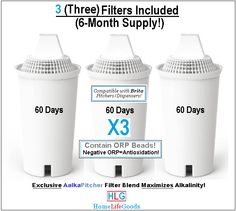 AlkaPitcher 3-Pack (BRITA Upgrade!) Replacement Filters...Six (6) Months of Filtration, Alkalizing & Ionizing!  Compatible with and IMPROVES BRITA  Pitchers & Dispensers!  FREE 7-Day UPS Shipping to US & Canada ONLY!  Contact Us for Other locations Worldwide!