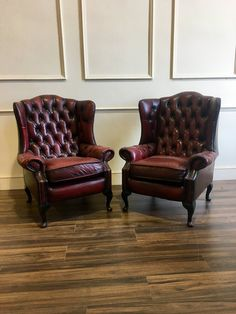 Beautiful Pair of Great Leather Chesterfield Wing Back Chairs