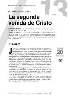 Leccion joven La segunda venida de Cristo by Escuela Sabatica via slideshare. #LESAdv Descargue aqui: http://gramadal.wordpress.com/