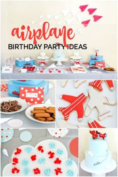 If you have sky-high hopes for your birthday boy then this airplane themed party might be right up your runway! Austin's Mom Sandy, of Sandy A La Mode, created a darling fourth birthday celebration in cheery shades of red, white, and sky blue. The sweet invitations... #airplane #birthday #boys