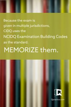 Because the exam is given in multiple jurisdictions, CIDQ uses the NCIDQ Examination Building Codes as the standard. Memorize them.