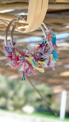 eco friendly earrings of multicolored vintage threads on silver hoops ,fashionable bohemian woman. €18.00, via Etsy.