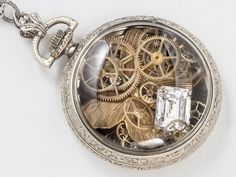 Pocket Watch Case Necklace 14K White Gold Filled Engraved Locket with Gears Crystal and Butterfly Pendant Steampunk Jewelry