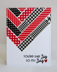 Snippets By Mendi: You're The Zig To My Zag Washi Tape Valentine's Day Card