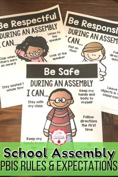 Teach your students your school's PBIS rules and expectations for assemblies with these posters, student pages, real life pictures, assembly certificates and invitations, and awards assembly Google Slides. You have the ability to customize the posters and matching student materials to fit the rules of your school! Choose and edit the posters to best fit your school expectations and the matching student printable pages will automatically be populated to match your edited poster! Classroom Expectations Poster, Voice Level Charts, Class Presentation, Student Of The Month, Voice Levels, Cue Cards, School Songs, I Can Statements, Substitute Teacher