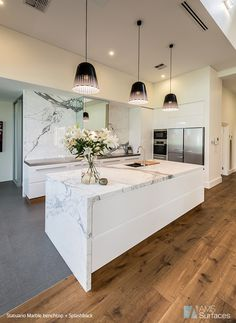 Change of floor types? Gallery – Adelaide Tiles, benchtops adelaide, Caesar St… – Marble Back Splash. Open Plan Kitchen Living Room, Kitchen Room Design, Condo Kitchen, Modern Kitchen Design, Home Decor Kitchen, Interior Design Kitchen, Modern Condo, Kitchen Benchtops, Modern Kitchen Island