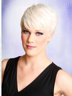 Blonde Ice Platinum Pixie Cut Long Bangs