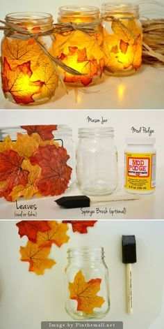 DIY Fall Decorating Ideas for the Home – Fall Leaf Mason Jar Candle Holder Mason Jar Candle Holders, Mason Jar Candles, Mason Jar Crafts, Diy Candles, Mason Jar Diy, Fall Candles, Fall Mason Jars, Mason Jar Projects, Votive Holder