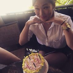 Jenna Ushkowitz celebrating her birthday