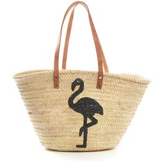St. Honore Flamingo Sequins Straw Bag ($35) ❤ liked on Polyvore featuring bags, handbags, tote bags, natural, beach tote, beach handbags, handbags totes, straw beach tote and tote bag purse